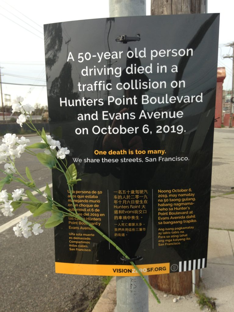 Memorial poster to Lee Dominique Jr placed by Vision Zero SF